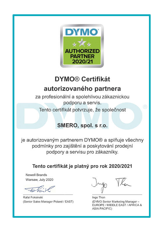 Dymo certifikát