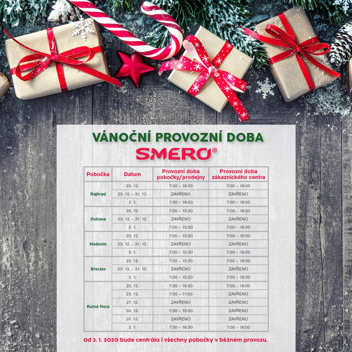 Vánoční provozní doba 2019