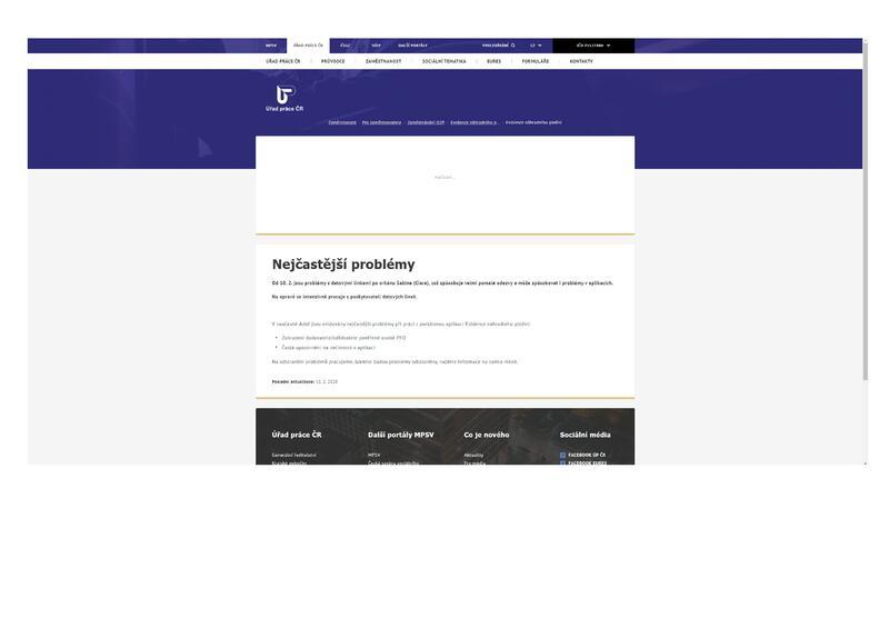 Výpadek portálů MPSV